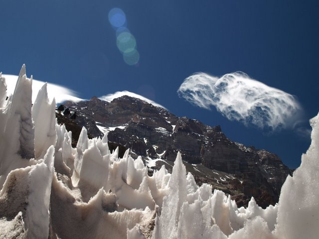 Penitentes (or spikes of ice) reaching for the sun
