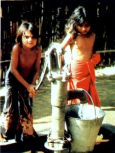 New tube-well installed by EPRC allows even children to draw clean water for their families.
